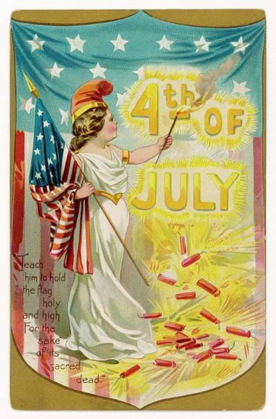 Wall Art - Drawing - 4th Of July   A Patriotic Girl Holding by Mary Evans Picture Library
