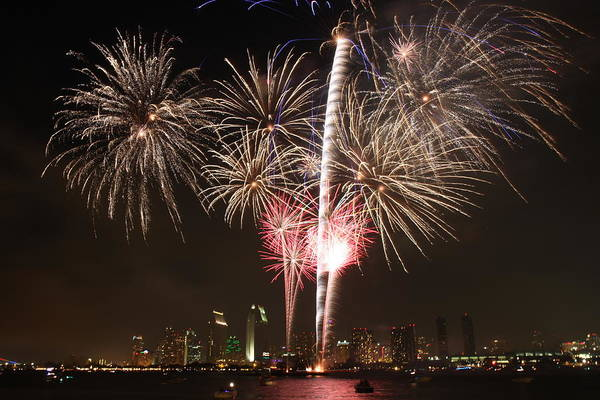 Photograph - 4th Of July Fireworks Over Downtown San Diego by Nathan Rupert