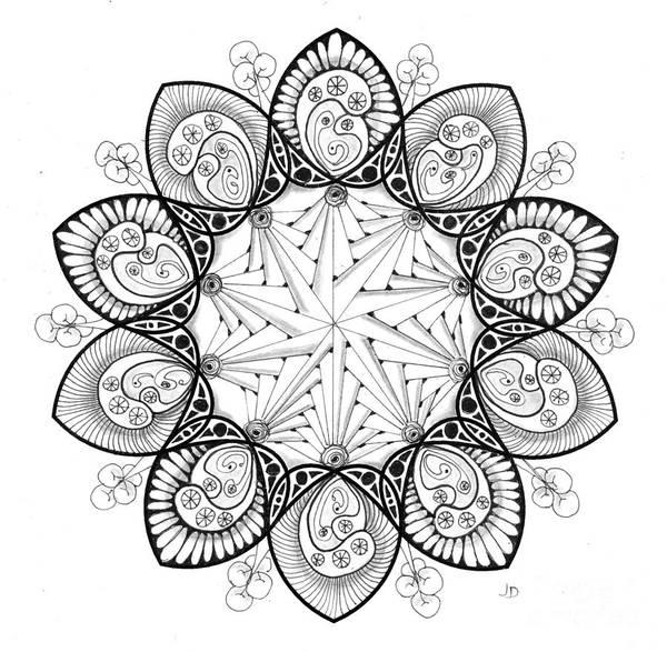 Organic Form Drawing - 5 - 10 Pt Symmetry by Jeaanne Donovan