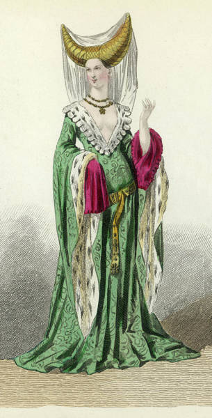The Specials Drawing - A Noblewoman Of The Period Of  Charles by Mary Evans Picture Library