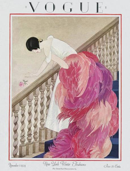 Staircase Photograph - A Vintage Vogue Magazine Cover Of A Woman by George Wolfe Plank