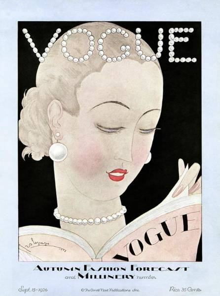 Reading Photograph - A Vintage Vogue Magazine Cover Of A Woman by Georges Lepape