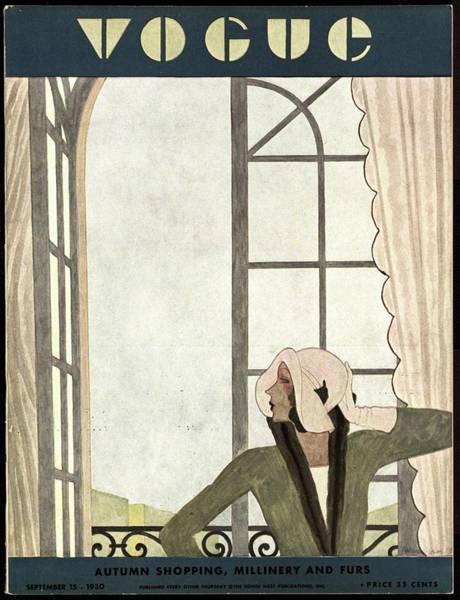 Architecture Photograph - A Vintage Vogue Magazine Cover Of A Woman by Pierre Mourgue