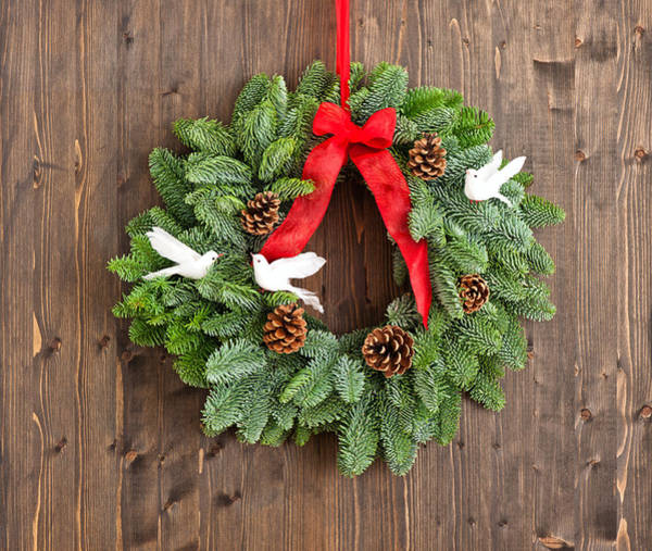 Photograph - Advent Wreath With Red Ribbon by U Schade
