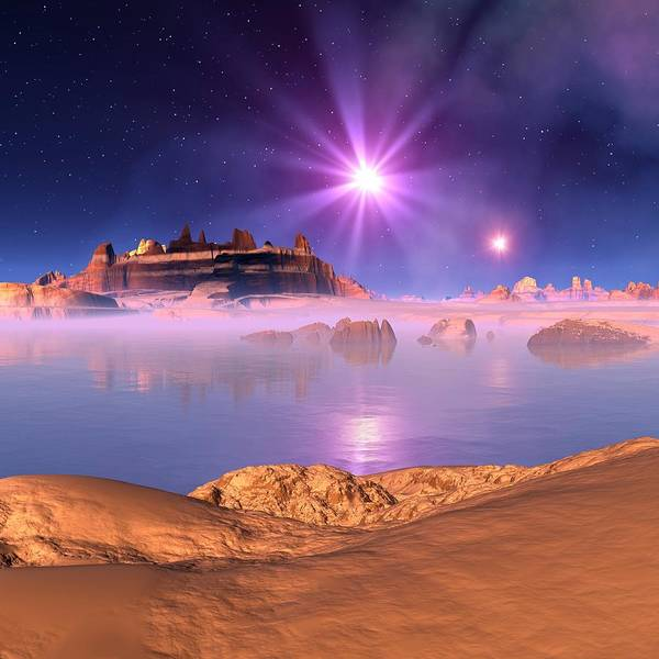 Square Digital Art - Alien Planet, Artwork by Mehau Kulyk