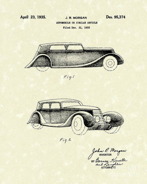 Drawing - Automobile 1935 Patent Art by Prior Art Design