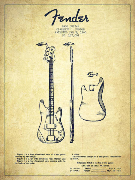 Acoustic Bass Wall Art - Drawing - Bass Guitar Patent Drawing From 1960 by Aged Pixel