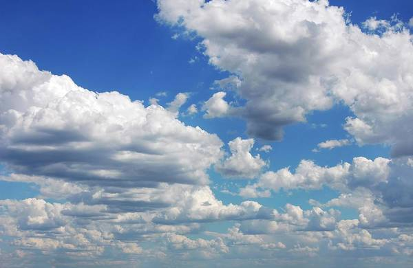 Weathered Digital Art - Blue Sky With Cumulus Clouds, Artwork by Leonello Calvetti