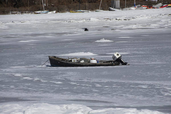 Photograph - Boat And Ice Hobart Beach Ny by Susan Jensen