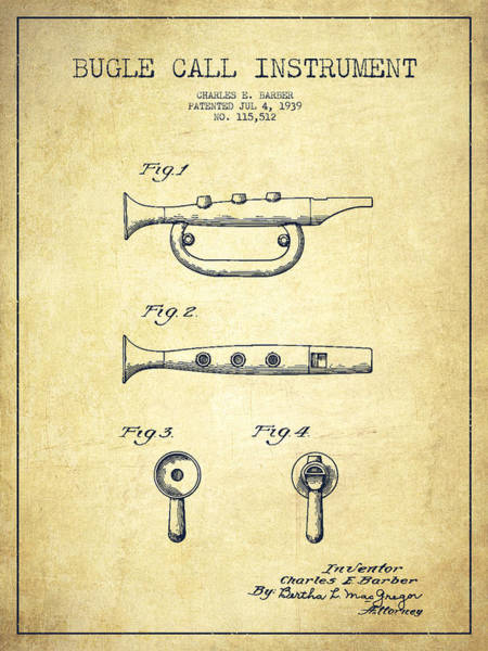 Bugling Wall Art - Digital Art - Bugle Call Instrument Patent Drawing From 1939 - Vintage by Aged Pixel