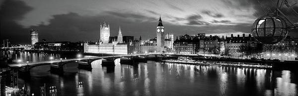 London Eye Photograph - Buildings Lit Up At Dusk, Big Ben by Panoramic Images
