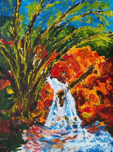 Painting - Burch Creek Waterfall by Walt Brodis
