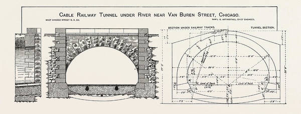 Vintage Chicago Drawing - Cable Railway Tunnel Under River Near Van Buren Street by American School