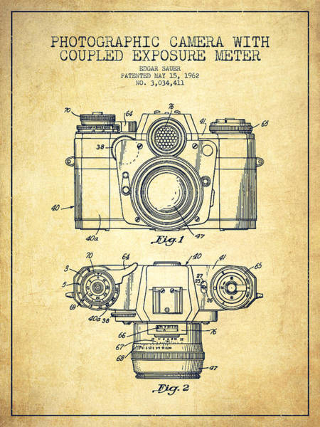 Camera Wall Art - Digital Art - Camera Patent Drawing From 1962 by Aged Pixel