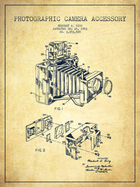 Lens Digital Art - Camera Patent Drawing From 1963 by Aged Pixel