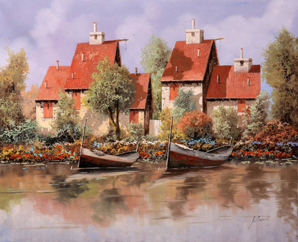 Lake House Painting - 5 Case E 2 Barche by Guido Borelli