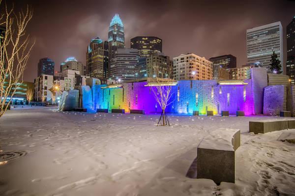 Photograph - Charlotte Queen City Skyline Near Romare Bearden Park In Winter Snow by Alex Grichenko