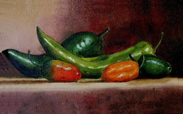 Glass Cutting Painting - 5 Chilies by Jeannette Scranton