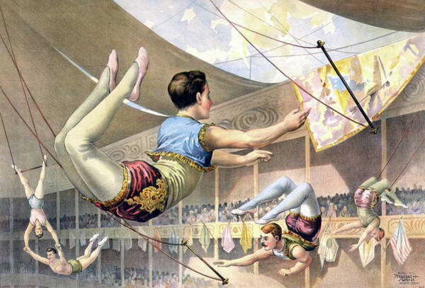 Trapeze Painting - Circus Poster, C1890 by Granger