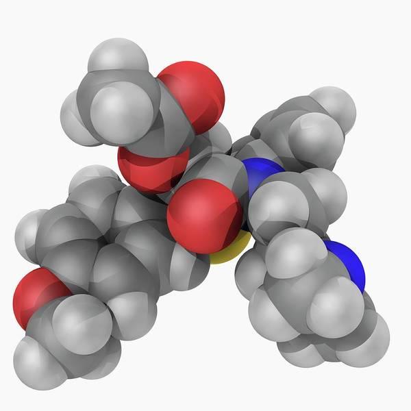 Wall Art - Photograph - Diltiazem Drug Molecule by Laguna Design/science Photo Library