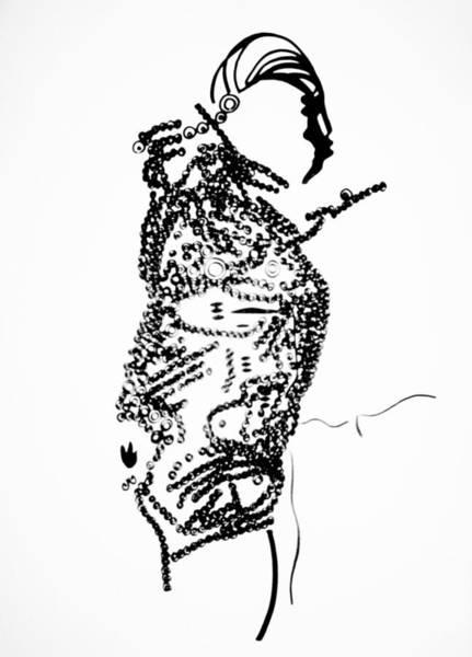 Dinka People Drawing - Dinka Corset - Manlual - South Sudan by Gloria Ssali