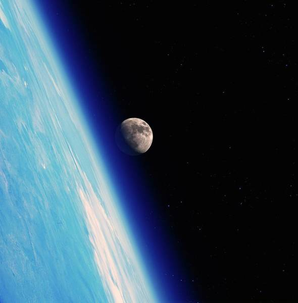 Wall Art - Photograph - Earth And Moon From Orbit by Detlev Van Ravenswaay