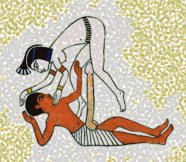Wall Art - Mixed Media - erotic art of ancient Egypt by Michal Boubin