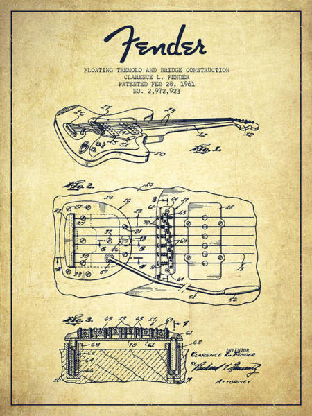 Tremolo Digital Art - Fender Floating Tremolo Patent Drawing From 1961 - Vintage by Aged Pixel