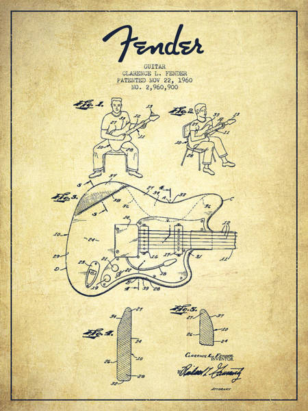 Tremolo Digital Art - Fender Guitar Patent Drawing From 1960 by Aged Pixel