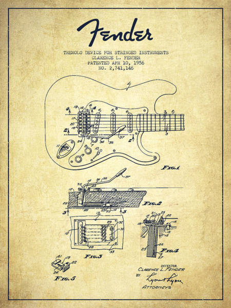 Acoustic Bass Wall Art - Drawing - Fender Tremolo Device Patent Drawing From 1956 by Aged Pixel