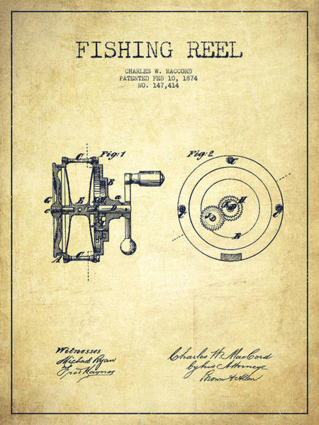Bait Wall Art - Drawing - Fishing Reel Patent From 1874 by Aged Pixel