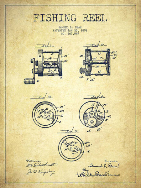 Antique Fishing Lures Wall Art - Drawing - Fishing Reel Patent From 1892 by Aged Pixel