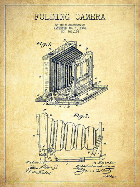 Lens Digital Art - Folding Camera Patent Drawing From 1904 by Aged Pixel