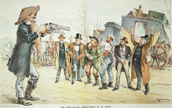 Political Cartoon Painting - Free Silver Cartoon, 1896 by Granger