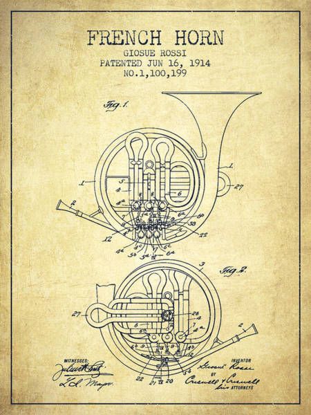 Exclusive Rights Wall Art - Digital Art - French Horn Patent From 1914 - Vintage by Aged Pixel