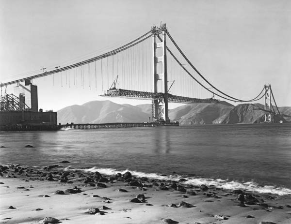 Steel Construction Wall Art - Photograph - Golden Gate Bridge by Underwood Archives