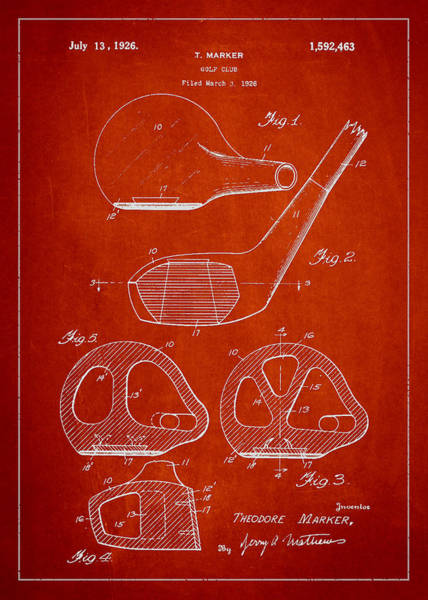 Pga Digital Art - Golf Club Patent Drawing From 1926 by Aged Pixel