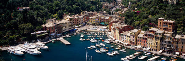 Portofino Photograph - High Angle View Of Boats Docked by Panoramic Images