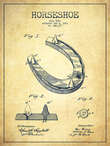 Horse Shoe Digital Art - Horseshoe Patent Drawing From 1881 by Aged Pixel