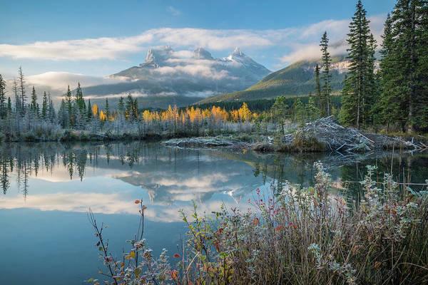 Canmore Photograph - Lake With Mountains In Background by Panoramic Images