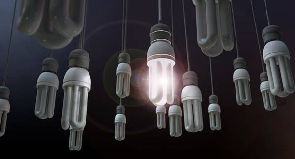 Intelligence Digital Art - Leadership Hanging Lightbulb by Allan Swart