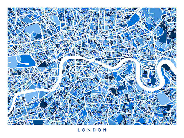 Wall Art - Digital Art - London England Street Map by Michael Tompsett