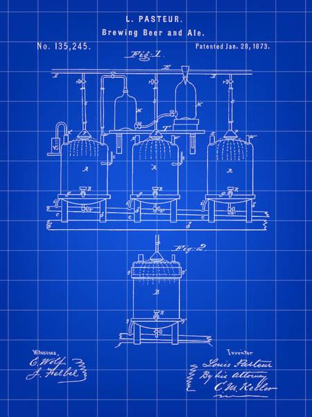 Wall Art - Digital Art - Louis Pasteur Beer Brewing Patent 1873 - Blue by Stephen Younts