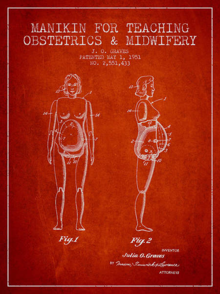 Pregnancy Digital Art - Manikin For Teaching Obstetrics And Midwifery Patent From 1951 - by Aged Pixel