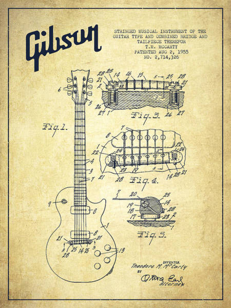 Wall Art - Digital Art - Mccarty Gibson Les Paul Guitar Patent Drawing From 1955 - Vintage by Aged Pixel