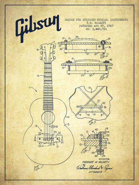 Acoustic Bass Wall Art - Digital Art - Mccarty Gibson Stringed Instrument Patent Drawing From 1969 - Vintage by Aged Pixel