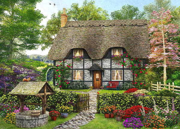 Wall Art - Painting - Meadow Cottage by MGL Meiklejohn Graphics Licensing