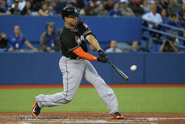 Giancarlo Stanton Photograph - Miami Marlins V Toronto Blue Jays by Tom Szczerbowski