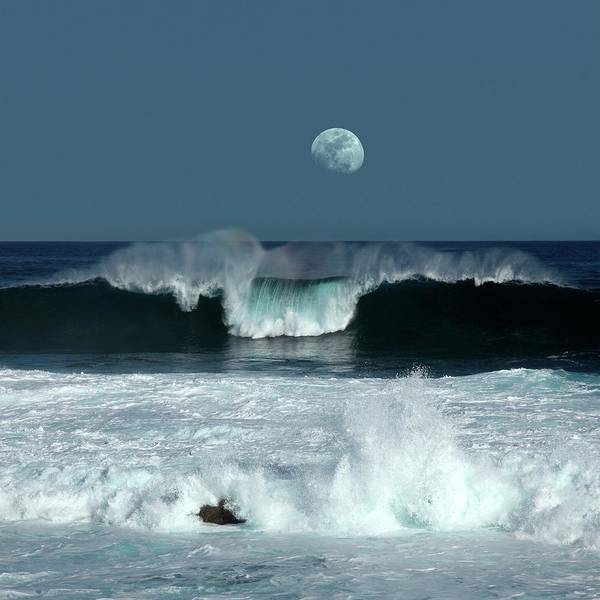 Rising Water Photograph - Moon Over The Ocean by Detlev Van Ravenswaay