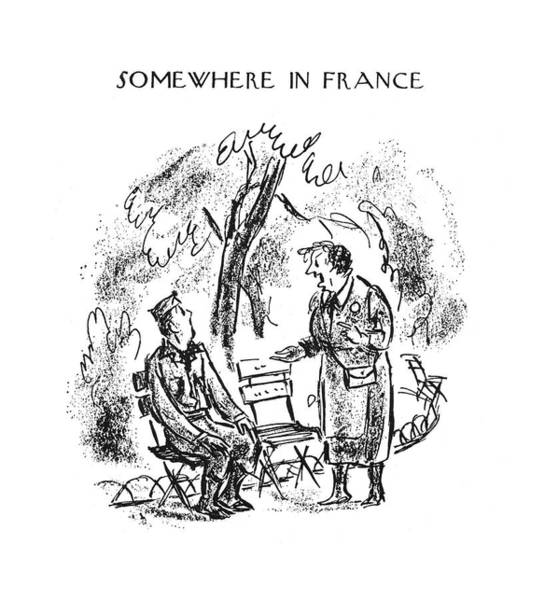 Somewhere Drawing - New Yorker September 30th, 1944 by Alan Dunn
